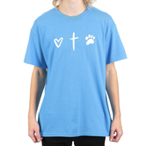 Paws & Praise, Heart Cross Paw, Men's Short Sleeve T-Shirt, Heather Sapphire, S-2XL
