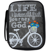 Swanson, Life is a Beautiful Journey with God Bible Cover, Canvas, Gray, Multiple Sizes Available
