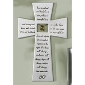 Roman, Inc., 50th Wedding Anniversary Wall Cross, Silver-Toned, Resin, 7 inches