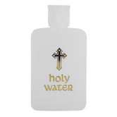 Roman Inc., Holy Water Bottle, Plastic, White and Gold, 4 1/2 inches