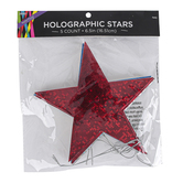 Brother Sister Design Studio, Holographic Patriotic Star Ornaments, 6 1/2 inches, Pack of 5