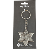 Holy Land Gifts, Star of David Jerusalem Keychain, Pewter, Silver, 6 x 2 3/4 inches