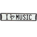 Open Road Brands, I Love Music Wall Sign, Metal, Black and White, 16 x 3 1/2 x 1/8 inches