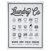 Laundry Symbols Wall Decor, Metal, White and Black, 13 3/4 x 10 1/2 inches