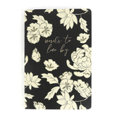 Karma Gifts, Words To Live By Floral Notebook, Black & White, 8 1/4 x 5 1/2 inches, 80 Pages