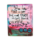 Abbey and CA Gift, Fire in Her Soul Metal Table Plaque for Daughter, 4 1/2 x 3 1/4 inches