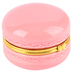 Macaron Jewelry Box, Ceramic, Pink and Gold, 2 1/2 x 2 1/16 inches