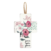 Grace Upon Grace Floral Mini Wall Cross, MDF, 6 x 4 inches