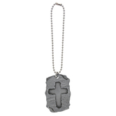 Abbey and CA Gift, Cross on Slate Car Charm, Metal, Silver, 6 inches