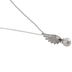 Bella Grace, Angel Wing with Pearl Pendant Necklace, Zinc Alloy and Pearl, Silver, 20 inches