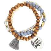 Modern Grace, Psalm 139:14 Created With A Purpose Beaded Bracelet Set, Zinc Alloy, Silver, 3 Pieces