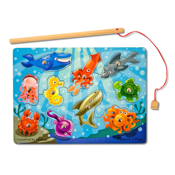 Melissa & Doug, Fishing Magnetic Wooden Puzzle Game, Ages 3 to 5 Years Old, 11 Pieces
