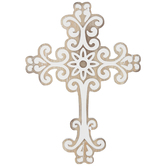 Fleur-de-lis Wall Cross, Wood, Brown and White, 9 x 7 x 3/8 inches