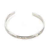 Radiant Sol, I Can Do All Things Bangle Bracelet, Iron, Silver