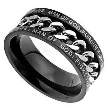 Spirit & Truth, 1 Timothy 6:6-16, Man of God, Inset Chain, Men's Ring, Stainless Steel, Black