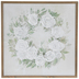Wreath of Roses Wall Decor, MDF, White and Green, 24 x 24 x 1 3/8 inches