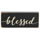 P. Graham Dunn, Blessed Tabletop Block, Wood, Black & White, 2 1/2 x 6 inches