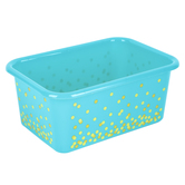 Teacher Created Resources, Confetti Small Plastic Storage Bin, Teal, Gold  7.75 x 11.38 x 5 Inches