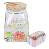 Christian Art Gifts, Today I'm Grateful For... Gratitude Jar with Cards, Glass, 7 1/4 x 5 x 5 inches