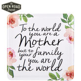 Open Road Brands, You are the World Magnet, Tin, White with Floral, 2 1/2 x 2 1/2 inches
