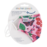 Stephen Joseph, Butterfly Print Face Mask for Kids, Polyester, Pink, 6 1/2 x 4 1/4 inches