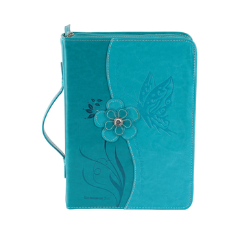 Divinity, Butterfly with Flower Bible Cover, Teal, Multiple Sizes Available