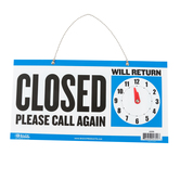 Bazic Products, Reversible Open/Closed Clock Sign with Chain, Blue and White, 6 x 11.5 Inches