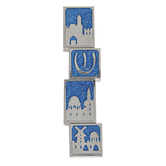 Holy Land Gifts, Jerusalem Mezuzah, Pewter, Blue & Silver, 4 inches