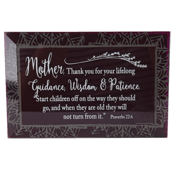 Dexsa, Proverbs 22:6 Mother Tabletop Plaque, Glass, 6 x 4 inches