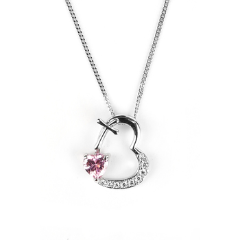 H.J. Sherman, Heart Pendant With Cross, CZ Stones, and Pink Crystal, Sterling Silver, 18 inches