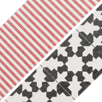 Farmhouse Lane Collection, Wide Double-Sided Border Trim, 38 Feet, Modern Country Tile and Red Pinstripe