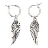 Modern Grace, Angel Wing Dangle Earrings, Zinc Alloy, Antique Silver