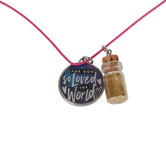 Glitter and Grace, John 3:16 For God So Loved Cord Necklace with Glass Bottle Charm, Pink, 16 inch Cord