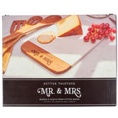 Christian Art Gifts, Better Together Mr & Mrs Cutting Board, Marble & Acacia Wood, 8 x 10 inches