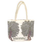 Holy Land Gifts, Tree of Life Tote Bag, Canvas, Cream, 17 1/4 x 15 1/4 x 5 1/2 inches