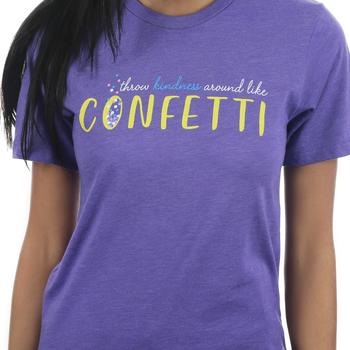 NOTW, Throw Kindness Around Like Confetti, Women's Short Sleeve T-Shirt, Purple Heather, XS-2XL