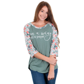 Southern Grace, On A Wing And A Prayer, Women's 3/4 Sleeve Raglan T-shirt, Jade and Floral, S-2XL
