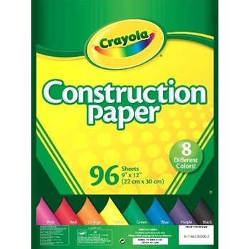 Crayola, Contruction Paper, Assorted Colors, 96 Sheets, 9 x 12 inches