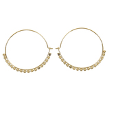 Set Free, Hoop with Partial Scalloped Edge Dangle Earrings, Zinc Alloy, Gold
