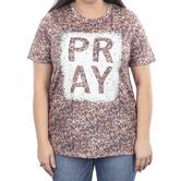 Southern Grace, Pray, Women's Short Sleeve T-shirt, Cheetah Print, Large