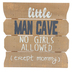 Brother Sister Design Studio, Little Man Cave Sign for Boys, Wood, Natural, 10 x 10 inches
