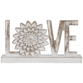 Love Word Sign with Flower Table Decor, Resin, Whitewash, 8 x 4 1/2 x 1 1/4 Inches
