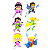 Superheroes Collection, Large Superhero Cutouts, 6 Inches, 6 Assorted Multi-colored, 36 Pieces