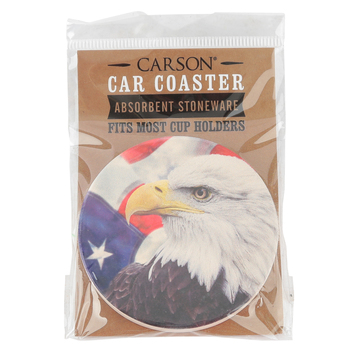 Carson Home Accents, Eagle and American Flag Round Car Coaster, Absorbent Stoneware, 2 3/4 inches