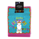 Brother Sister Design Studio, Zipper Bags with Handle, Happy Birthday Llama, Plastic, 24 Count