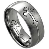 Spirit & Truth, Removable Double Cross, Men's Ring, Stainless Steel, Sizes 8-12