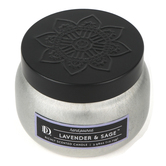 Darsee & David's, Lavender & Sage Candle Tin, Silver and Black, 3.98 ounces