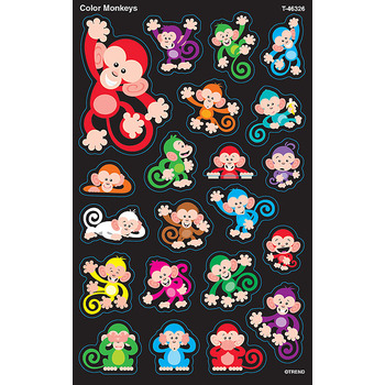 TREND enterprises Inc., Color Monkeys superShapes Stickers, Multi-Colored, Pack of 168