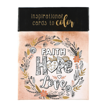 Christian Art Gifts, Faith Hope Love Coloring Cards, 3 1/4 x 4 1/4 inches Each, Box of 44 Cards