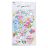 the Paper Studio, La Petites, Faith Floral Dimensional Stickers, 11 Stickers